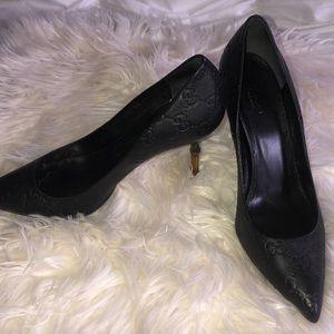 GUCCI Bamboo Heel Kristen Black Leather
